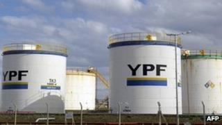 YPF oil tanks are seen in Rio Gallegos, Santa Cruz, some 2500km south west of Buenos Aires, on October 2011