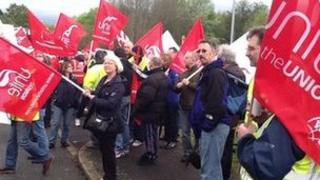 Workers on strike outside MoD in Donnington