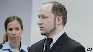 Anders Behring Breivik (right) in Oslo court. Photo: 10 May 2012