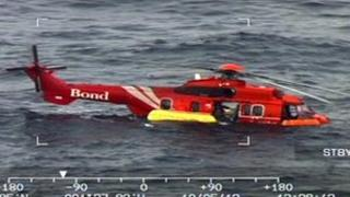 Helicopter in water
