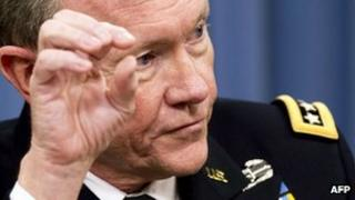 Chairman of the Joint Chiefs of Staff General Martin Dempsey speaks during a press briefing 10 May 2012