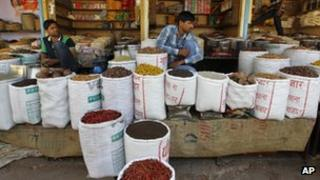Wholesale grains, spices and pulses sellers at a market in New Delhi