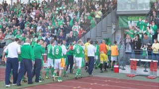 Guernsey FC walking off the pitch at Footes Lane being cheered by the crowd