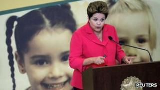 Dilma Rousseff during the launch of the Brasil Carinhoso programme in Brasilia