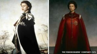 Artist Pietro Annigoni's 1954-5 portrait of the Queen (left) will go on show with his portrait from 1969