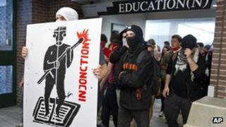 Protesters march through a university in Montreal, Canada 16 May 2012