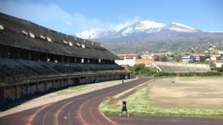Giarre polo ground with Mt Etna in the background