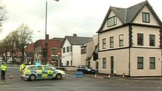 Police outside The Hubb pub in Nottingham