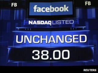 Monitors show the $38 value of Facebook stock just before the close-of-trading bell in New York, May 18