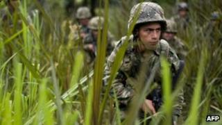 Colombian soldier in the bush