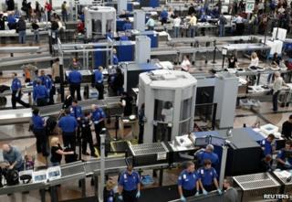 Security checks at Denver International Airport