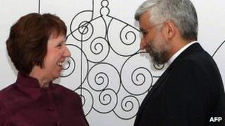 EU foreign policy chief Catherine Ashton with Iran's chief negotiator Saeed Jalili