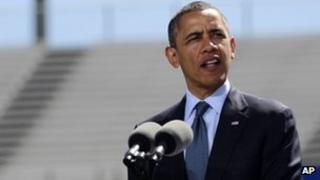 US President Barack Obama gives a speech in Colorado Springs, Colorado 23 May 2012