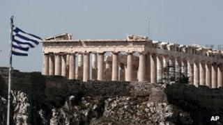 Greek flag flying in front of the Parthenon in Athens