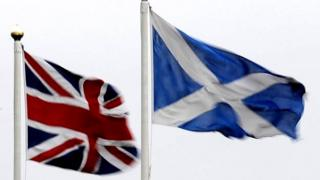 Union Jack flag and Scotland flag