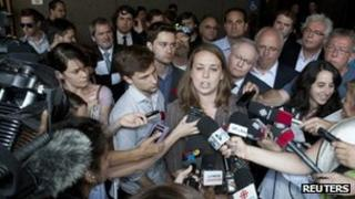 Student leaders speak in front of a Montreal courthouse after filing two motions challenging Bill 78, 25 May 2012