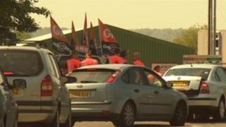 Picket line outside recycling site