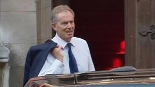 Tony Blair arriving at Leveson Inquiry