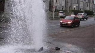Gushing water hydrant