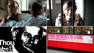 Clockwise (left to right): Stills from adverts for Volkswagen Group Ltd, 2009; Barnado's, 2008; The Christian Party, 2009 (Rex Features); and British Safety Council, 1995