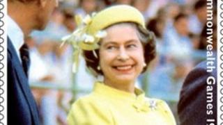 The Queen at the Commonwealth Games in a stamp