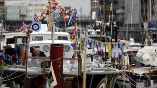 Boats with flags
