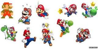 Mario designs over the decades