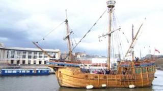 The Matthew leaving Bristol for the Jubilee Pageant in London