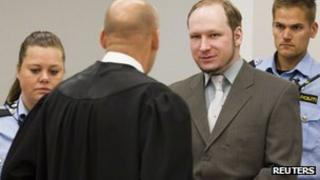 Anders Behring Breivik in court in Oslo, 4 June