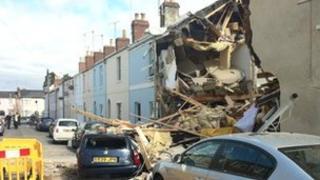 The explosion scene in Rosehill Street, Cheltenham