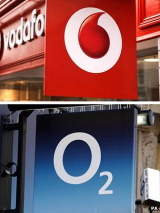 Vodfone shop and an O2 shop