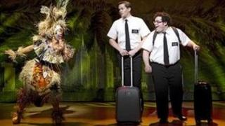Rema Webb, Andrew Rannells and Josh Gad in the Broadway production of The Book of Mormon