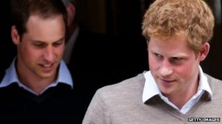 Prince Harry followed by Prince William
