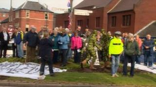 Leek roundabout protesters
