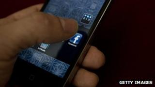 Using Facebook on a smartphone