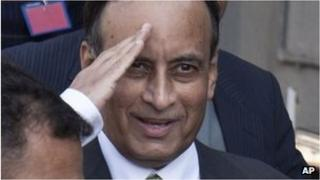 "Monday, Jan. 9, 2012 file photo, Pakistan""s former ambassador to the U.S., Husain Haqqani salutes to media as he leaves after appearing before a judicial commission at a high court in Islamabad"