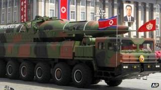 North Korean vehicle and missile