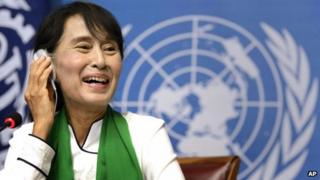 Aung San Suu Kyi at the United Nations in Geneva, Switzerland