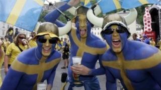 Sweden fans at the fan zone