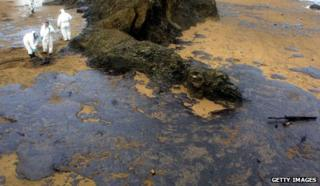 Oil leak in Bakio caused by sunken tanker Prestige