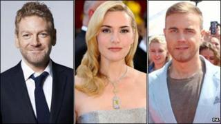 Kenneth Branagh, Kate Winslet and Gary Barlow