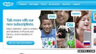 Screenshot, www.skype.com