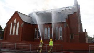 Damaged church in Sutton-on-Sea