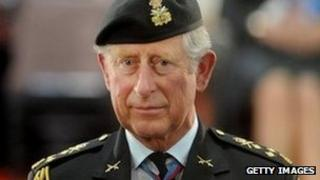 Prince of Wales in military dress on royal visit to Canada (22/5/12)