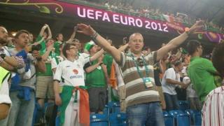 Ireland's fans inside the stadium