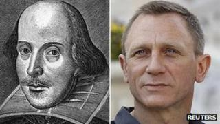 A drawing of William Shakespeare beside a photo of James Bond actor Daniel Craig