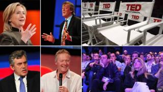 From top left, clockwise: Hillary Clinton, Stephen Fry, empty TED chairs, TED delegates, Rory Bremner, Gordon Brown