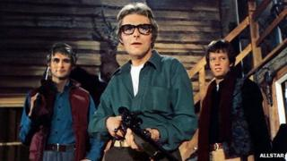 Richard Lynch (centre) with John Phillip Law and Peter Fonda in 1974 film Open Season
