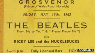 A Beatles ticket for the Grosvenor, Norwich, in 1963