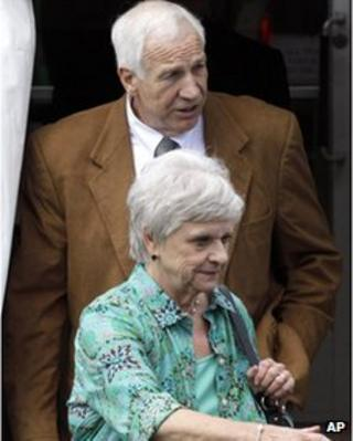 Jerry and Dottie Sandusky leave court on 22 June 2012
